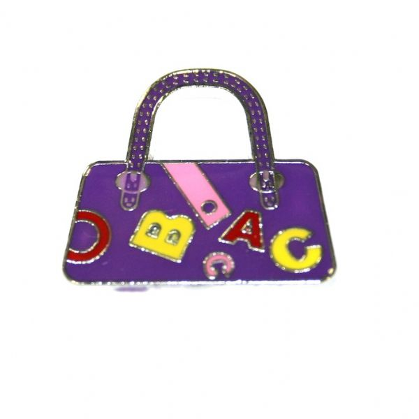 1pce x 24*22mm rhodium plated purple handbag with letters enamel charm - SD03 - CHE1210